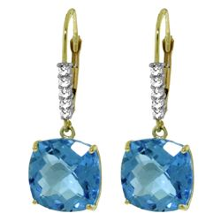 ALARRI 7.35 Carat 14K Solid Gold Perdita Blue Topaz Diamond Earrings