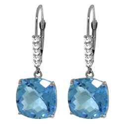 ALARRI 7.35 Carat 14K Solid White Gold Ruzgar Blue Topaz Diamond Earrings