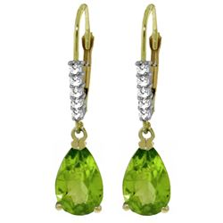ALARRI 3.15 CTW 14K Solid Gold Leverback Earrings Natural Diamond Peridot