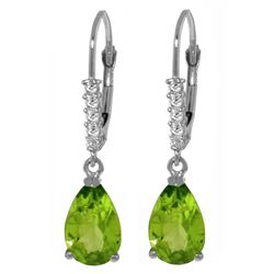 ALARRI 3.15 CTW 14K Solid White Gold Leverback Earrings Natural Diamond Peridot