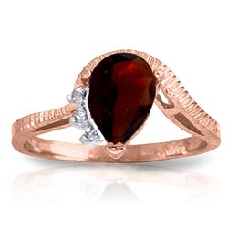 ALARRI 1.52 CTW 14K Solid Rose Gold Azur Garnet Diamond Ring