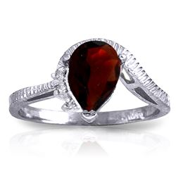 ALARRI 1.52 Carat 14K Solid White Gold Strive To Be Garnet Diamond Ring