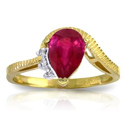 ALARRI 1.52 Carat 14K Solid Gold Hit The Trend Ruby Diamond Ring