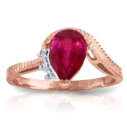 ALARRI 1.52 CTW 14K Solid Rose Gold Azur Ruby Diamond Ring