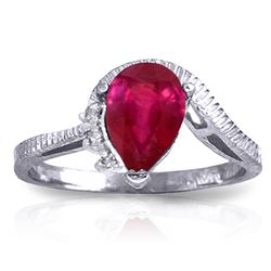 ALARRI 1.52 Carat 14K Solid White Gold Wholehearted Pleasure Ruby Diamond Ring