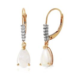 ALARRI 1.7 CTW 14K Solid Gold Leverback Earrings Natural Diamond Opal