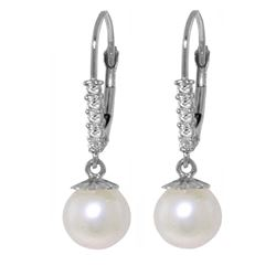ALARRI 4.15 Carat 14K Solid White Gold Innermost Feelings Pearl Diamond Earrings