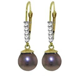 ALARRI 8.15 Carat 14K Solid Gold Pampered Pearl Diamond Earrings