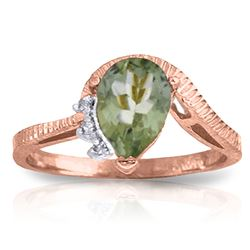 ALARRI 1.52 Carat 14K Solid Rose Gold Ring Diamond Green Amethyst