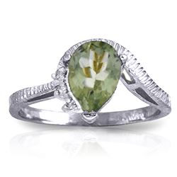 ALARRI 1.52 CTW 14K Solid White Gold Ring Diamond Green Amethyst