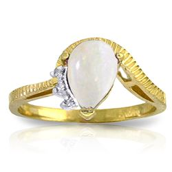 ALARRI 0.79 Carat 14K Solid Gold Deeper And Deeper Opal Diamond Ring