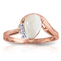 ALARRI 0.79 Carat 14K Solid Rose Gold Azur Opal Diamond Ring