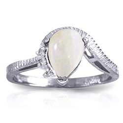 ALARRI 0.79 Carat 14K Solid White Gold Under The Elms Opal Diamond Ring