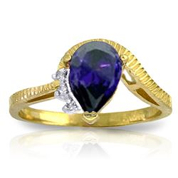 ALARRI 1.52 Carat 14K Solid Gold Somewhat Personal Sapphire Diamond Ring