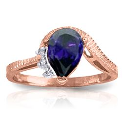 ALARRI 1.52 Carat 14K Solid Rose Gold Azur Sapphire Diamond Ring