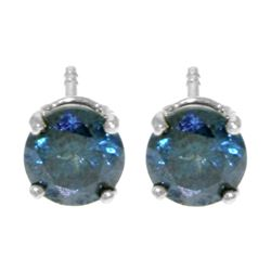 ALARRI 1 Carat 14K Solid White Gold Stud Earrings 1.0 Carat Natural Blue Diamond
