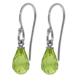 ALARRI 2.7 Carat 14K Solid White Gold Fish Hook Earrings Peridot
