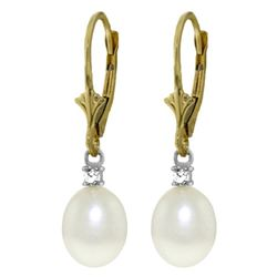 ALARRI 8.1 Carat 14K Solid Gold Leverback Earrings Diamond Pearl