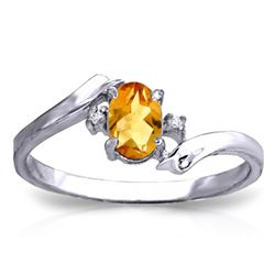 ALARRI 0.46 CTW 14K Solid White Gold Love Carries On Citrine Diamond Ring
