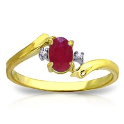 ALARRI 0.46 Carat 14K Solid Gold Rings Natural Diamond Ruby