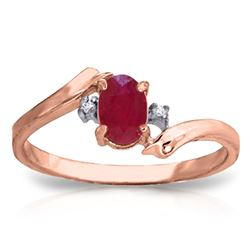 ALARRI 0.46 CTW 14K Solid Rose Gold Rings Natural Diamond Ruby