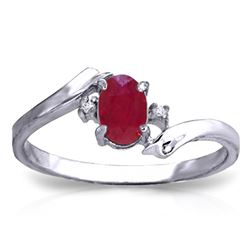 ALARRI 0.46 Carat 14K Solid White Gold Rings Natural Diamond Ruby