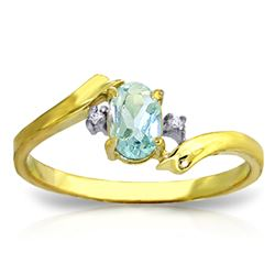 ALARRI 0.46 Carat 14K Solid Gold Rings Natural Diamond Aquamarine