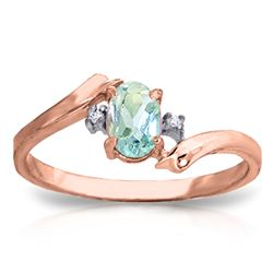 ALARRI 0.46 Carat 14K Solid Rose Gold Rings Natural Diamond Aquamarine