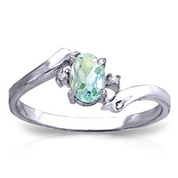 ALARRI 0.46 Carat 14K Solid White Gold Rings Natural Diamond Aquamarine