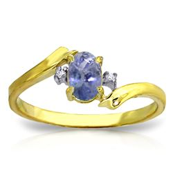 ALARRI 0.46 Carat 14K Solid Gold Rings Natural Diamond Tanzanite