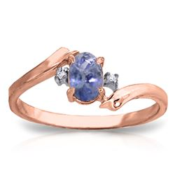 ALARRI 0.46 Carat 14K Solid Rose Gold Rings Natural Diamond Tanzanite