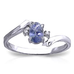 ALARRI 0.46 Carat 14K Solid White Gold Rings Natural Diamond Tanzanite