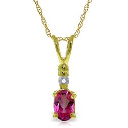 ALARRI 0.46 Carat 14K Solid Gold Pop Of Color Pink Topaz Diamond Necklace