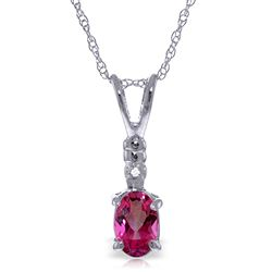 ALARRI 0.46 Carat 14K Solid White Gold Play The Part Pink Topaz Diamond Necklace