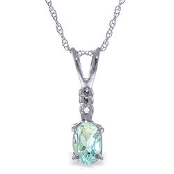 ALARRI 0.46 Carat 14K Solid White Gold Another Victory Aquamarine Diamond Necklace
