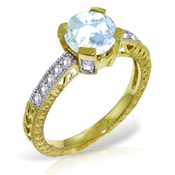 ALARRI 1.8 Carat 14K Solid Gold Fleshless Chant Aquamarine Diamond Ring
