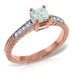 ALARRI 14K Solid Rose Gold Rings w/ Natural Diamonds & Aquamarine