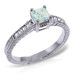 ALARRI 0.65 CTW 14K Solid White Gold Love For Granted Aquamarine Diamond Ring