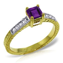 ALARRI 0.65 Carat 14K Solid Gold Sunshine On Your Lap Amethyst Diamond Ring