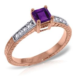 ALARRI 14K Solid Rose Gold Rings w/ Natural Diamonds & Purple Amethyst