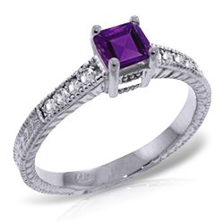 ALARRI 0.65 Carat 14K Solid White Gold Very Necklaceessary Amethyst Diamond Ring