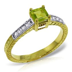 ALARRI 0.65 Carat 14K Solid Gold Drown In You Peridot Diamond Ring