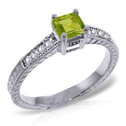 ALARRI 0.65 Carat 14K Solid White Gold Story Of Own Peridot Diamond Ring