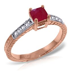 ALARRI 14K Solid Rose Gold Ring w/ Natural Diamonds & Ruby