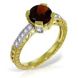 ALARRI 1.8 Carat 14K Solid Gold My Destination Garnet Diamond Ring