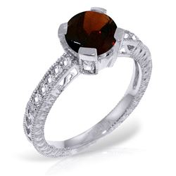 ALARRI 1.8 Carat 14K Solid White Gold At It's Core Garnet Diamond Ring