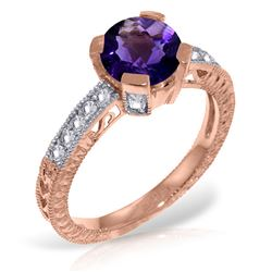 ALARRI 14K Solid Rose Gold Ring w/ Natural Diamonds & Purple Amethyst