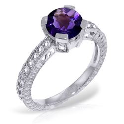 ALARRI 1.8 Carat 14K Solid White Gold Gesture Of Love Amethyst Diamond Ring