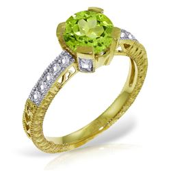 ALARRI 1.8 CTW 14K Solid Gold Flying Leap Peridot Diamond Ring