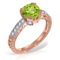 ALARRI 14K Solid Rose Gold Ring w/ Natural Diamonds & Peridot